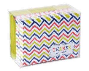 Multicolored Chevron Thank-You Cards and Lime Green Envelopes, 50-Count