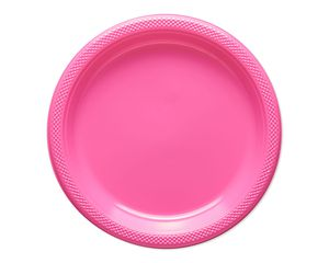 bright pink plastic dinner plates 20 ct