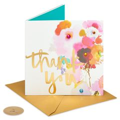 Watercolor Flower Thank You Greeting Card