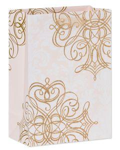 Small Gold Scrolls on Blush Wedding Gift Bag