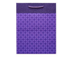 Medium Purple Geometric Pattern with Glitter Gift Bag
