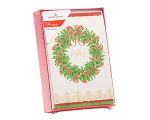 Joy Wreath Christmas Boxed Cards, 14 Count