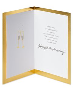 Golden 50th Anniversary Card for Couple