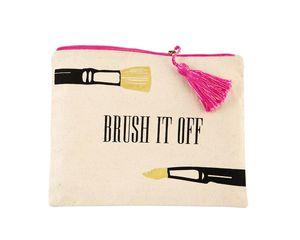 Mud Pie Brush It Off Canvas Print Make-Up Case