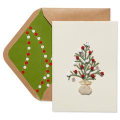 Christmas Tree with Pom Poms Christmas Greeting Card