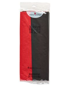 Red and Black Tissue Paper, 8 Sheets