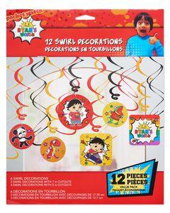 Ryan's World Hanging Swirl Decorations, 12-Count