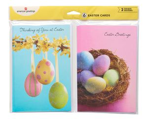 blue and pink easter egg cards, 6-count