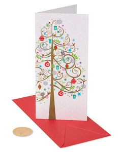 Tree with Hanging Gifts and Ornaments Holiday Boxed Cards, 16-Count