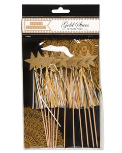 Party Partners Gold Star With Tassel Party Picks, 12-Count