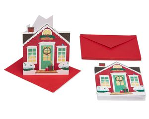 Christmas House Cards and Envelopes, 10-Count