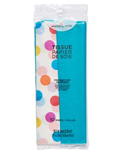 Aqua and Multicolored Polka Dot Tissue Paper, 10 Sheets