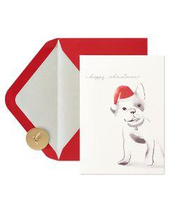 Dog Wearing Hat Christmas Greeting Card