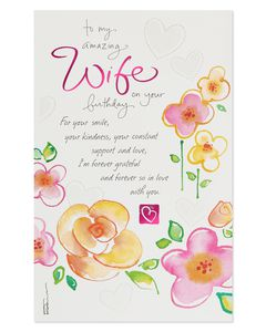 Kathy Davis Floral Birthday Card for Wife