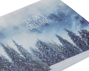 Snowy Mountain Trees Christmas Boxed Cards and White Envelopes, 12-Count