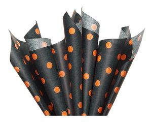 Black and Orange Polka Dots Tissue Paper, 6-Sheets