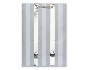 Small Gift Bag, Silver Stripes