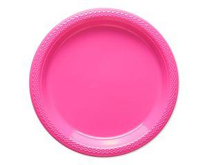 bright pink plastic dessert plates 20 ct