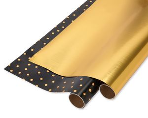 Gold Dot and Solid Gold Christmas Wrapping Paper, 2-Roll
