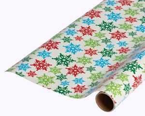 colorful snowflakes christmas wrapping paper