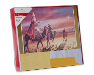 Premium Three Kings Christmas Boxed Cards and Gold Foil-Lined White Envelopes, 14-Count