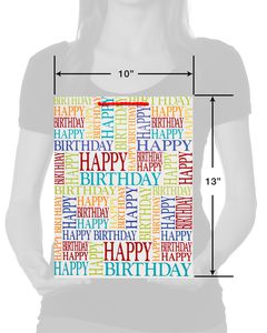 Happy Birthday Text with Red Glitter Medium Gift Bag
