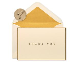 Gold Border Thank You Boxed Blank Note Cards and Envelopes, 16-Count