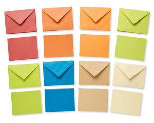 Earth Tone Blank Flat Panel Note Cards and Colored Envelopes, 100-Count