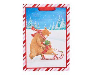 small bears sled riding christmas gift bag