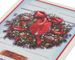 Snowy Front Door Wreath Christmas Boxed Cards, 14 Count