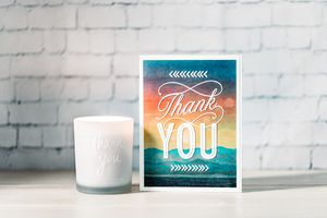mountain scene thank you card lifestyle image