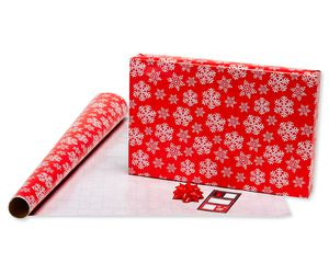 Christmas Wrapping Paper Ensemble with Bows and Gift Tags, Red, Black and White, Plaid, Script, Reindeer and Snowflakes, 41-Count