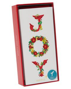 Joy Wreath Holiday Boxed Cards, 16-Count