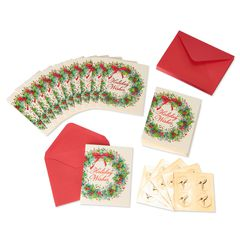 Christmas Wreath Holiday Boxed Cards, 20-Count