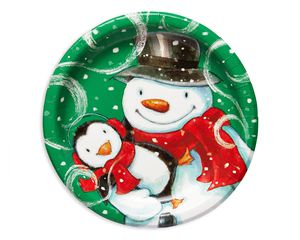 frosty friends dinner round plate 8 ct