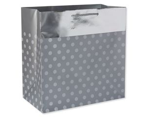 Extra-Large Silver Dots with Foil Gift Bag