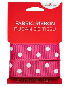 Pink and White Polka Dot Fabric Ribbon, 10 Ft.