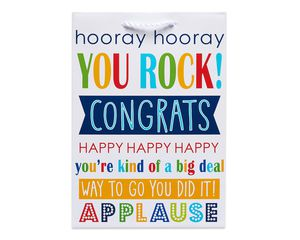 small colorful congrats gift bag