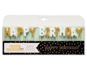 Party Partners Happy Birthday-Glitter Gold/White Long Candle Sets, 12-Count