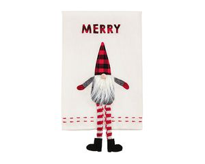 Mud Pie Merry Dangle Leg Gnome Towel