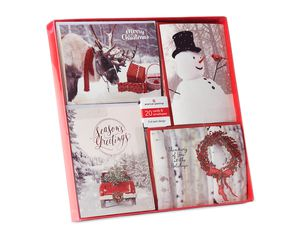 Christmas Outdoor Photos Assorted Boxed Cards and White Envelopes, 20-Count
