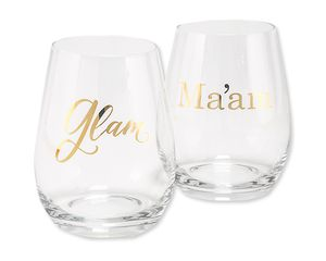 glam & ma'am wine glasses (set of 2)