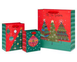 Holiday Gift Bag Set, 3-Count