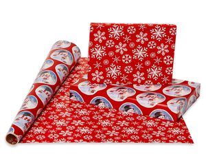 Christmas Reversible Wrapping Paper, Santa, Script Snowmen and Snowflakes, 4-Roll, 30