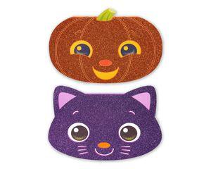 Pumpkin Halloween Card with Glitter, 6-count
