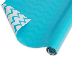 Reversible Wrapping Paper Aqua and Chevron Stripes