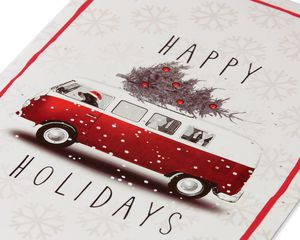 Dog Driving Bus with Christmas Tree Christmas Boxed Cards and White Envelopes, 12-Count