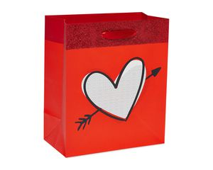 Extra-Small Heart Red Glitter Gift Bag