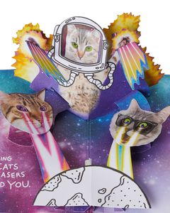 Funny Cats In Space Pop-Up Birthday Card with Music