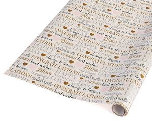 blissful wedding lettering wrapping paper